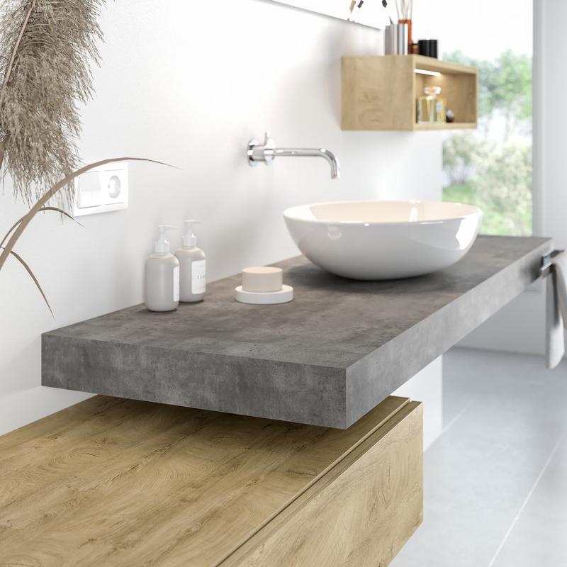 Waschtischplatte beton  8 cm in Betondekor nach Maß