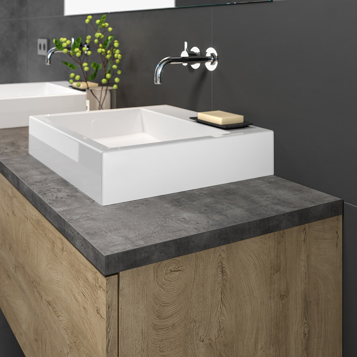 waschtischplatte 2 3 4 cm in betondekor nach ma. Black Bedroom Furniture Sets. Home Design Ideas