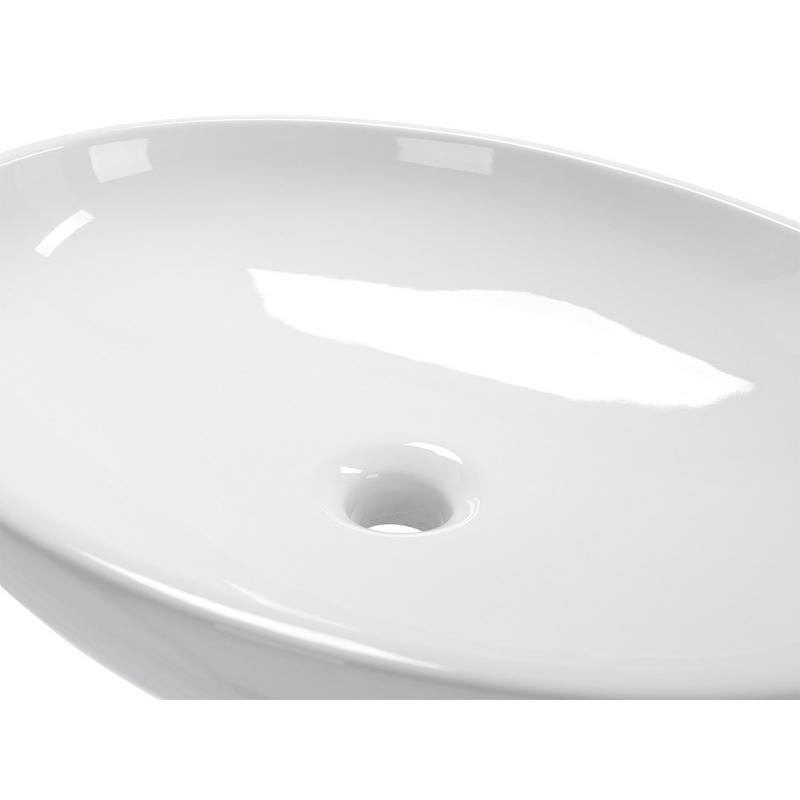 53 OVAL Keramik Aufsatzwaschbecken 53,5 x 41,5 cm, weiß glänzend | {Aufsatzwaschbecken oval mit hahnloch 83}