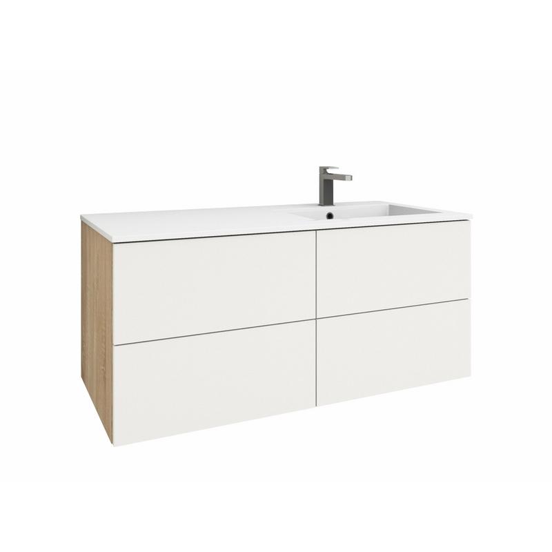 LEVANTO 120R Waschtisch-Set - 2 Schubladen & 2 Auszüge   {Waschtischplatte mit schublade 89}
