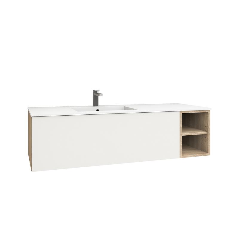 Doppelwaschtisch mit unterschrank 150  LEVANTO 150L Waschtisch-Set nach Maß mit Auszug & Regal