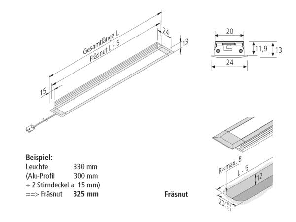 Technische Zeichnung LED-Einbauleuchte